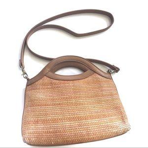 Vintage Fossil Woven Straw Leather Shoulder Bag!